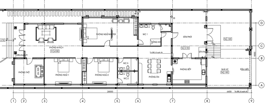 Mẫu biệt thự 1 tầng diện tích 9x28m