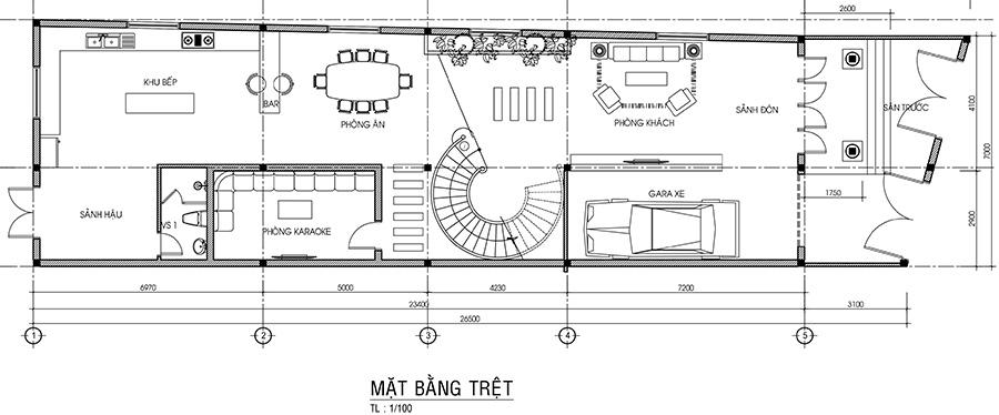 Mẫu thiết kế biệt thự 3 tầng 7 x 26,5m
