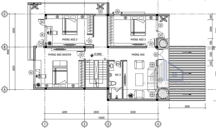 Mẫu biệt thự 3 tầng diện tích 8x12m tại Bến Tre