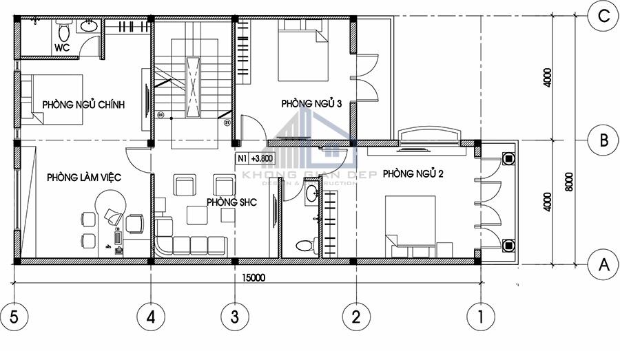 Mẫu biệt thự 3 tầng diện tích 8x15m tại Quận 7
