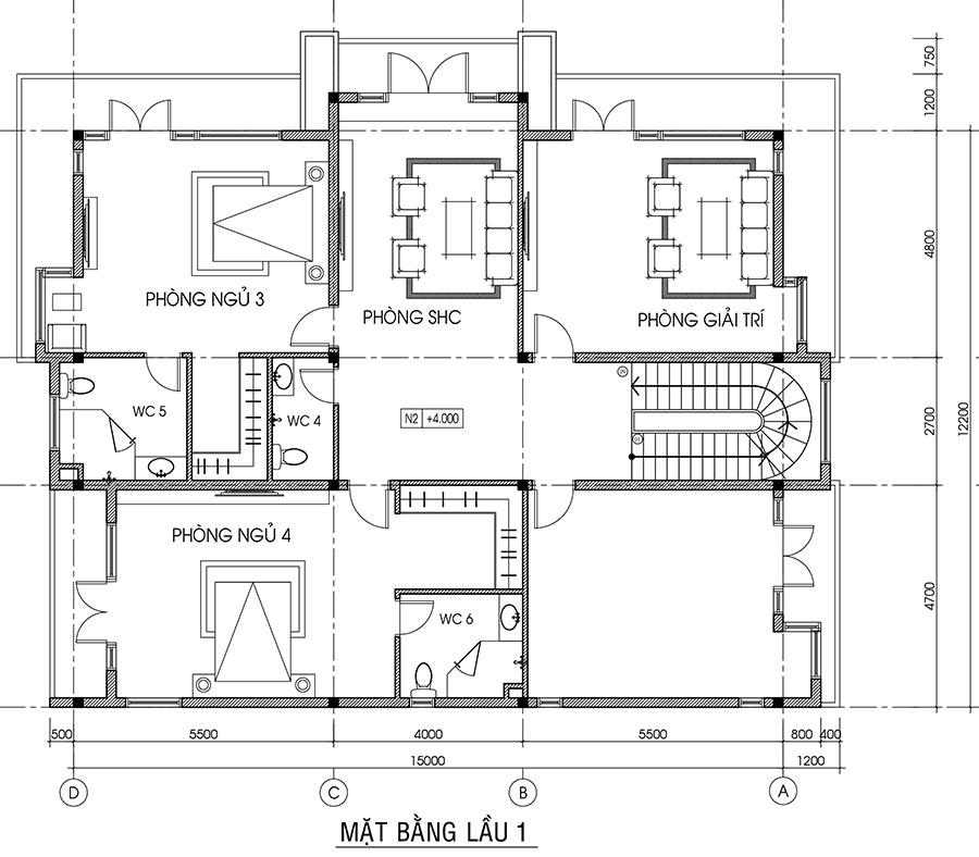 Mẫu biệt thự hiện đại 3 tầng 12 x 15m