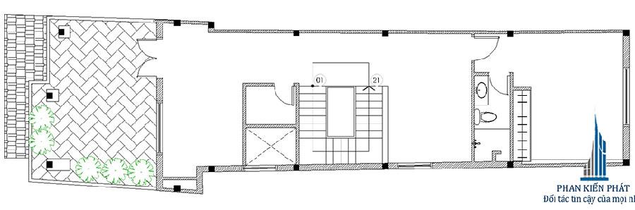 Mẫu thiết kế nhà phố 3 tầng mái chữ A diện tích 5x23m