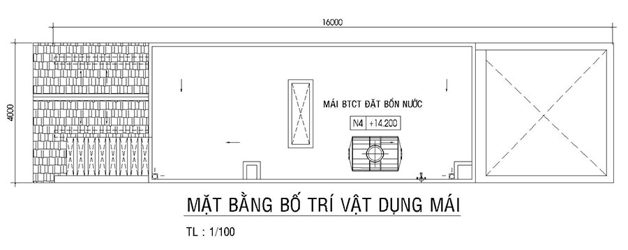 Mẫu thiết kế nhà phố chữ A diện tích 4x16m