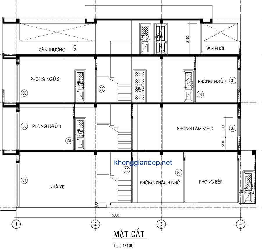 Mẫu thiết kế nhà phố hiện đại 4 tầng tại Bình Tân