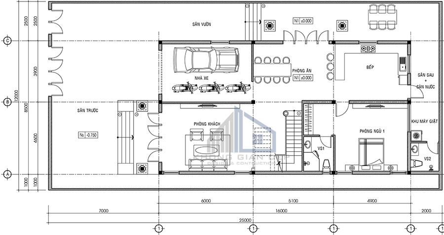 Biệt thự 2 tầng hiện đại 12x25m mái chữ A