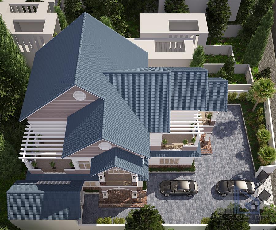 Mẫu biệt thự 2 tầng mái chữ A diện tích 13,5 x20,5m