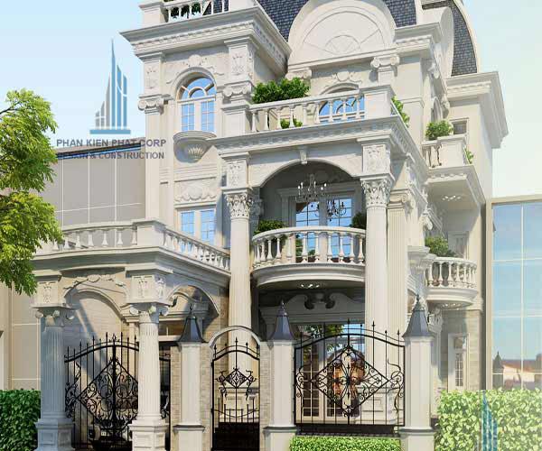 Mẫu biệt thự 3 tầng 10 x 16m kiểu Pháp
