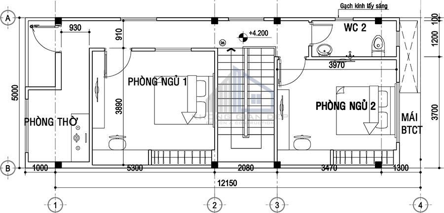 Mẫu nhà phố 2 tầng 5x14,5m hiện đại
