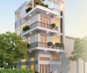 Mẫu nhà phố 4 tầng hiện đại diện tích 7 x 14m
