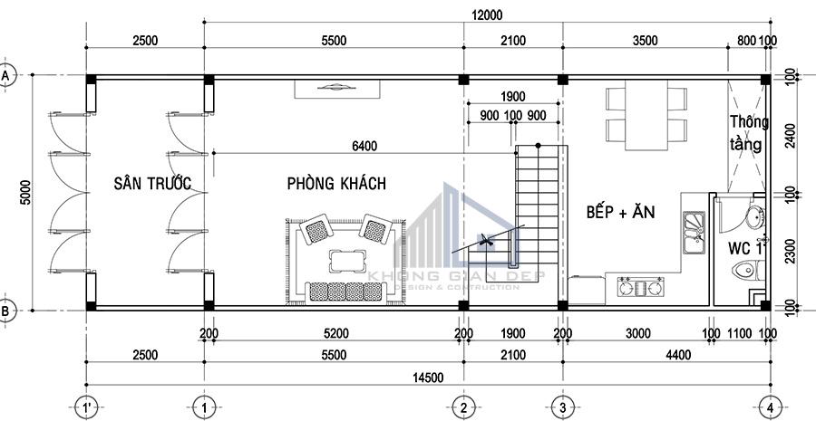 Mẫu nhà phố lệch tầng diện tích 5x12m