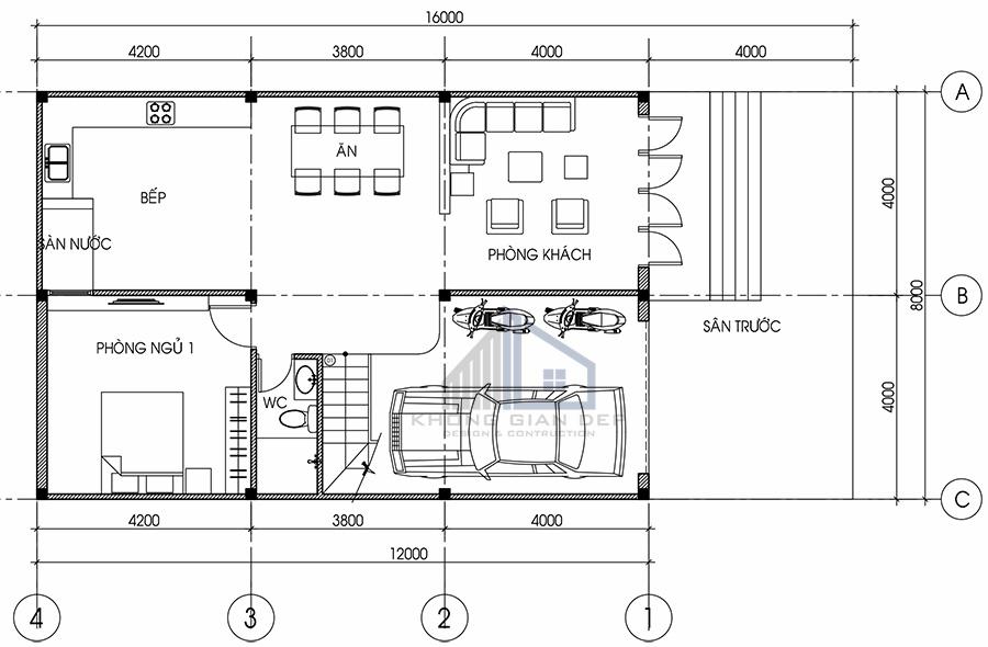 Nhà phố 2 tầng mái chữ A diện tích 8x12m